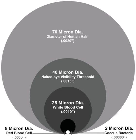 particle sizes